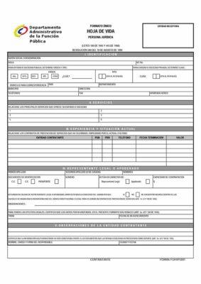 Formato Único de Hoja de Vida Persona Jurídica